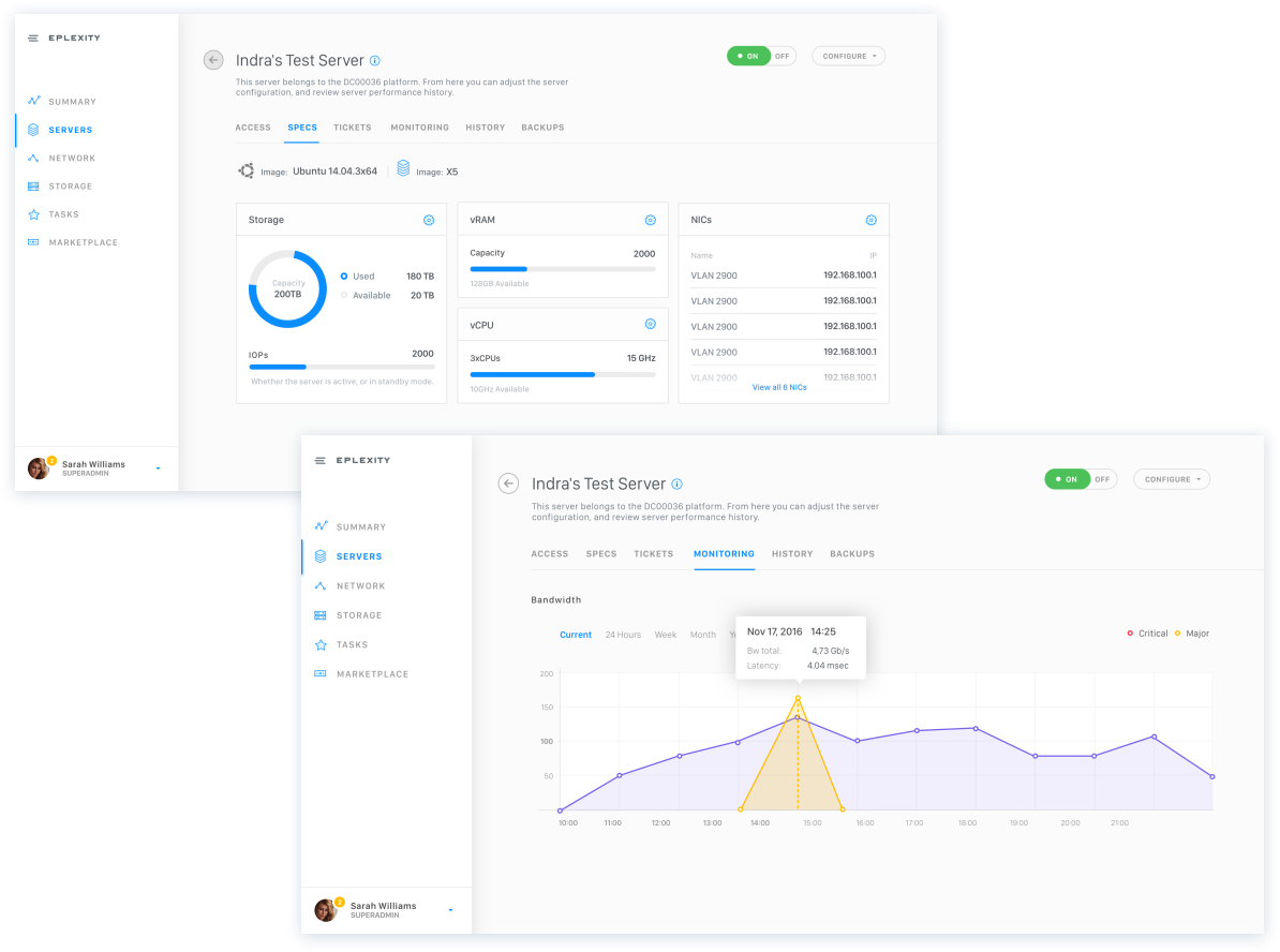 UX design for Cloud management platform