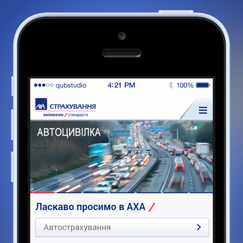 Mobile website design for AXA Ukraine