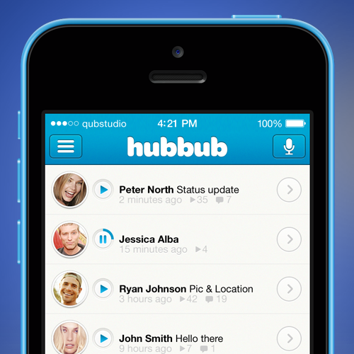Mobile Apps User Interface design for Hubbub