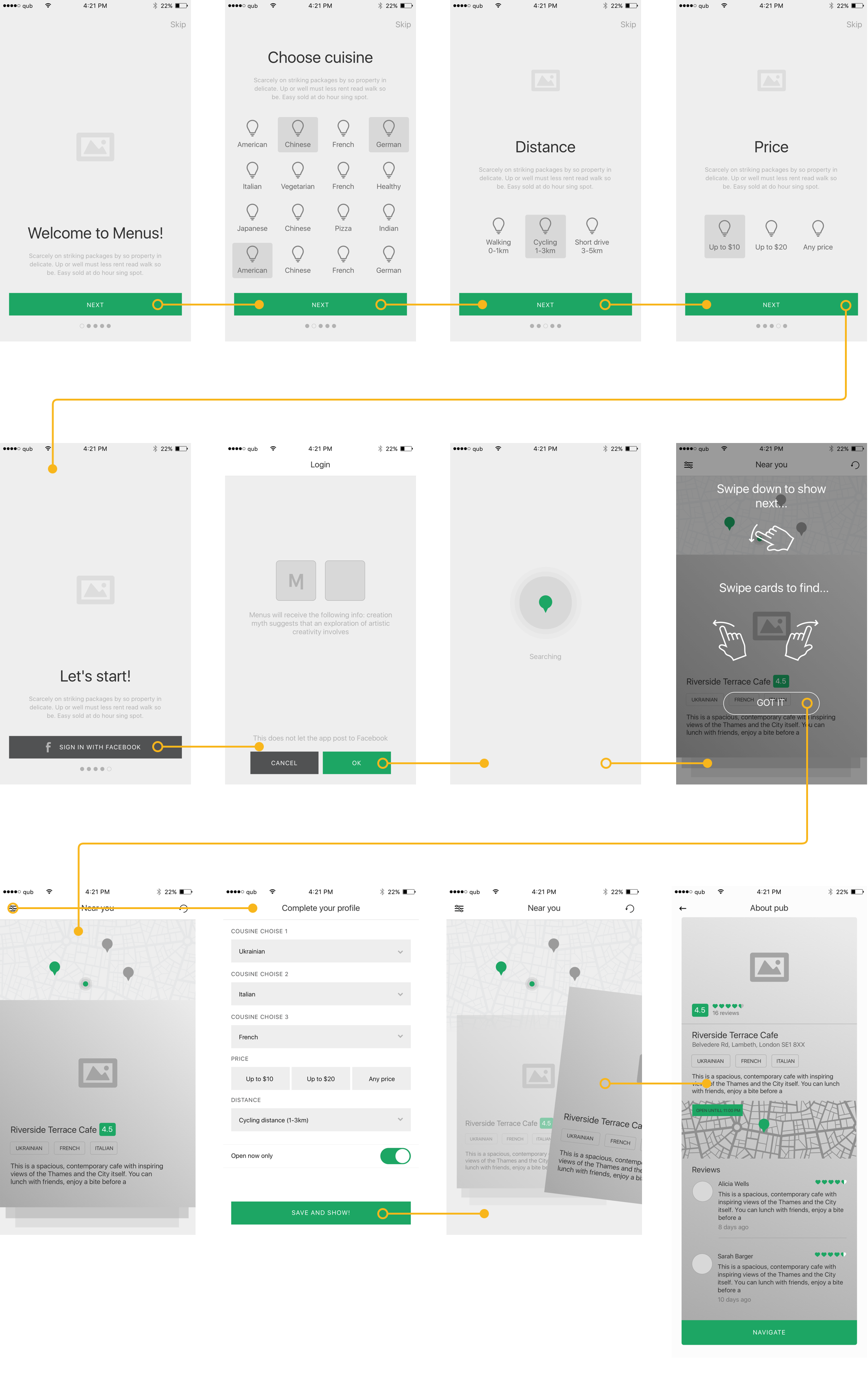 wireframes for mobile app