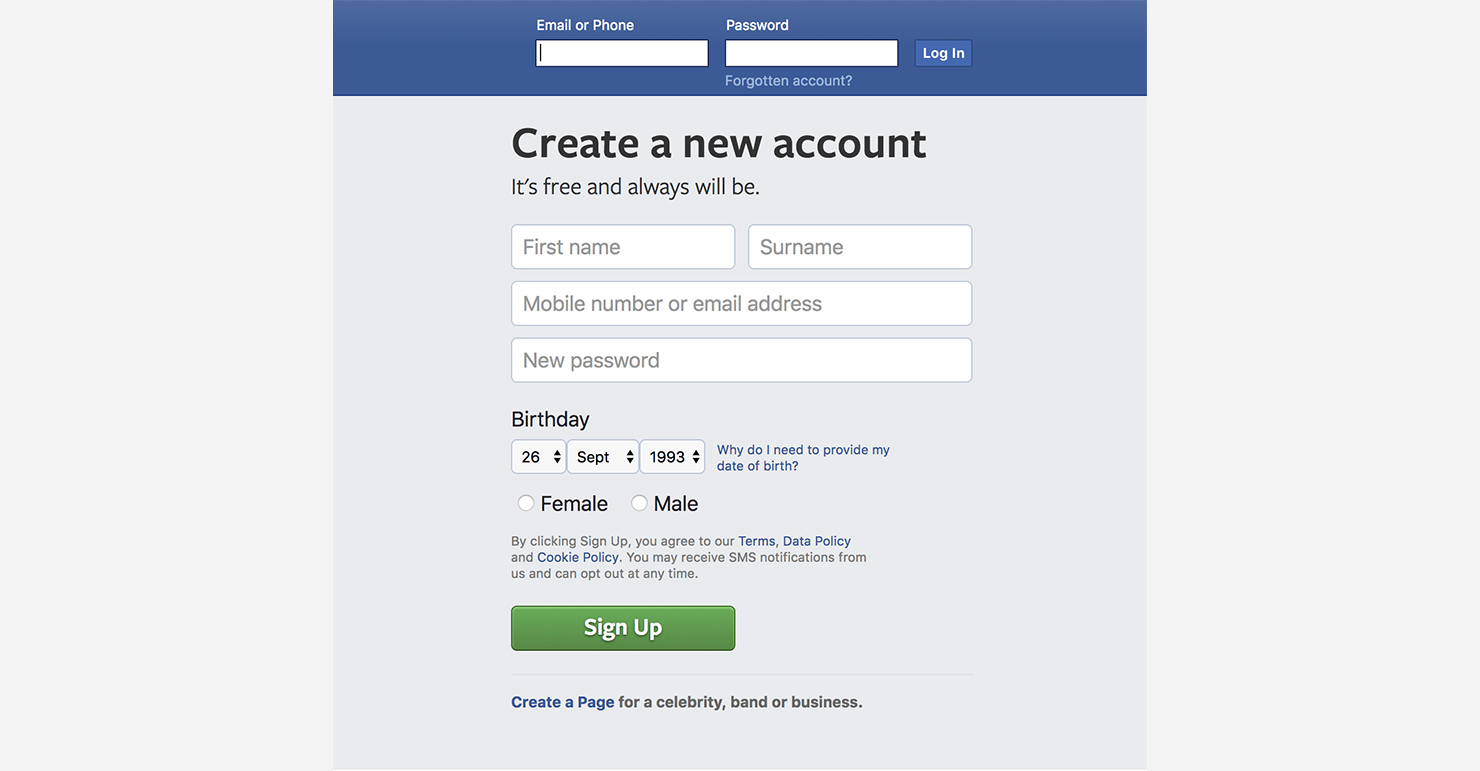 facebook registration: input pattern