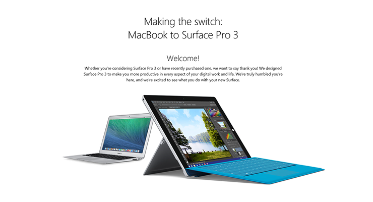 How Microsoft ad asks you to switch from Macbook