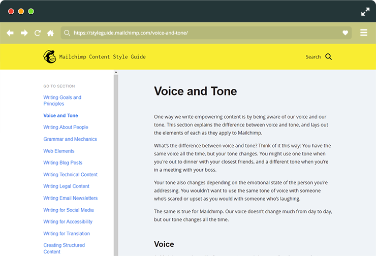 Style guide for your tone of voice.