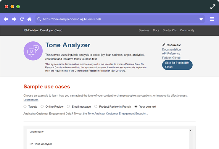 Check your tone of voice with tone analyzer.